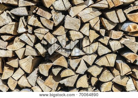 Firewood In A Pile For Furnace Kindling