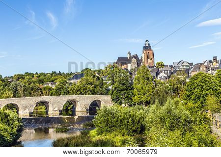 Old Lahn Bridge And View To Wetzlar Dome
