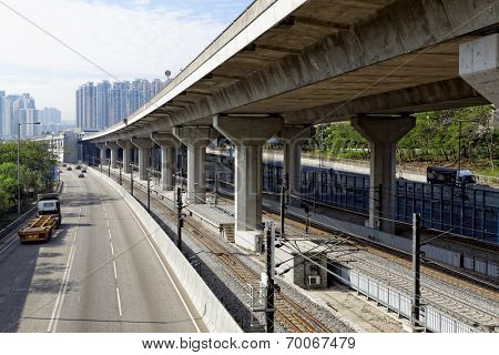 Freeway Overpasses and Train Tracks at day