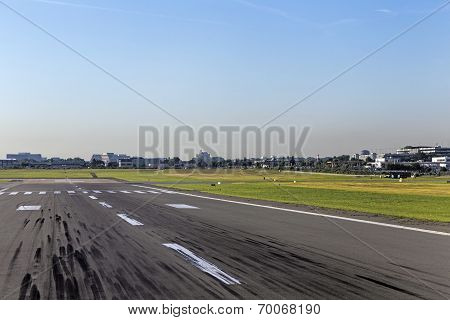 Touchdown Area With Tire Marks On A Runway