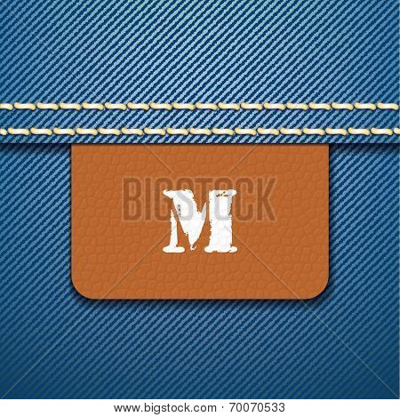 M size clothing label - vector illustration