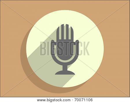 Flat long shadow icon of mic