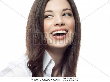 closeup portrait of attractive  caucasian smiling woman brunette isolated on white studio shot lips toothy smile face hair head and shoulders tooth