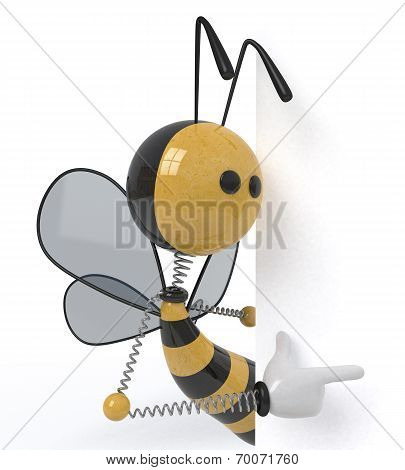 3D Bee With A Sign