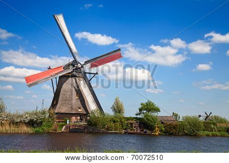 Traditional dutch windmills near Kinderdijk
