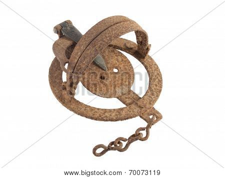 Rusty Vermin Trap On A White Background.