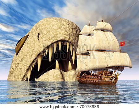 Sea Monster and Sailing Ship