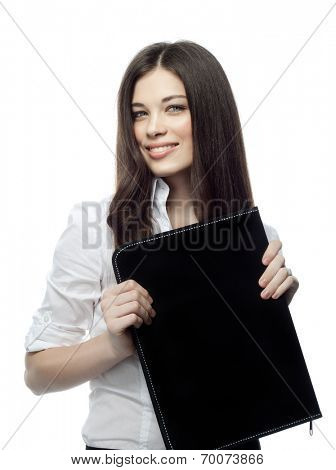 closeup portrait of attractive  caucasian smiling woman brunette isolated on white studio shot lips toothy smile face hair head and shoulders looking at camera document case folder businesswoman
