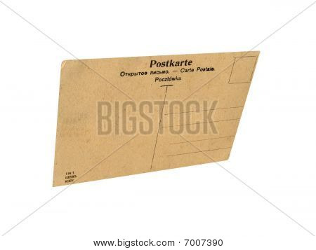 one Closeup Vintage Grunge Postcard Isolated, White Background