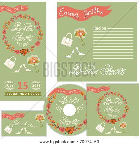 Autumn bridal shower design  template set