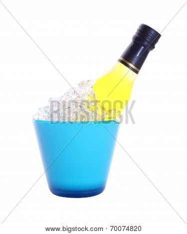 Bottle of liquor in blue ice bucket on white background.