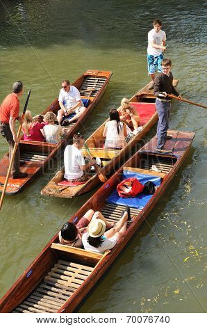 Gondolas on river Cam