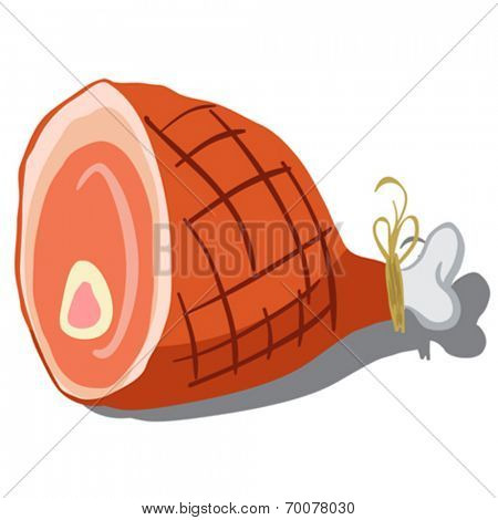 cartoon illustration of a ham isolated on white