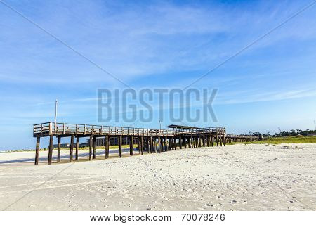 Wooden Pier At Dauphin Island