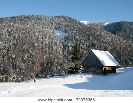 Small wooden house in winter mountains