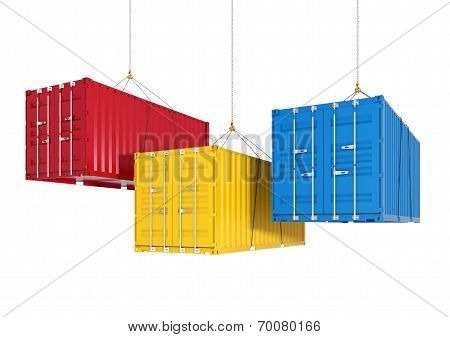Three Shipping Containers On The Hooks - Render Cutting Path