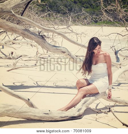 girl in a dress on the dry tree