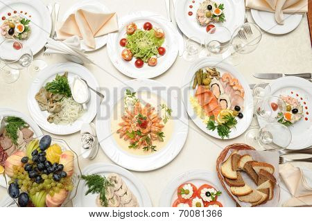 close up shot of table with food in restaurant