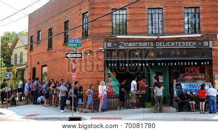 Customers Wait To Go Into Zingerman's