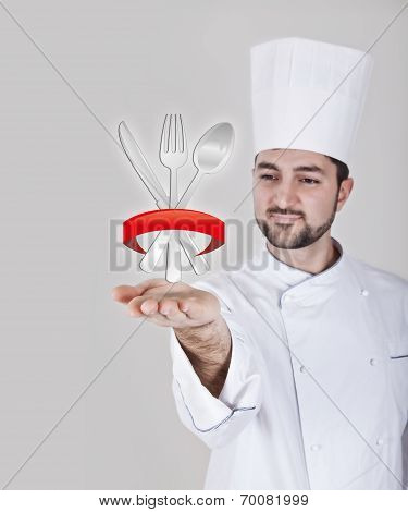 Chef With Cutlery Icon