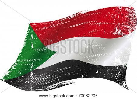 waving sudanese grunge flag.j A waving flag of Sudan with a grunge texture