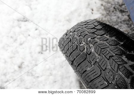 Closeup Of Snow Tire