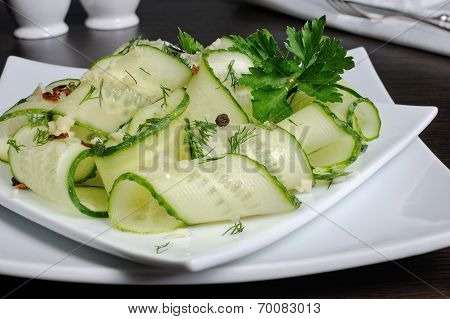 Salad From Fresh Cucumbers With Garlic, Dill, Spices