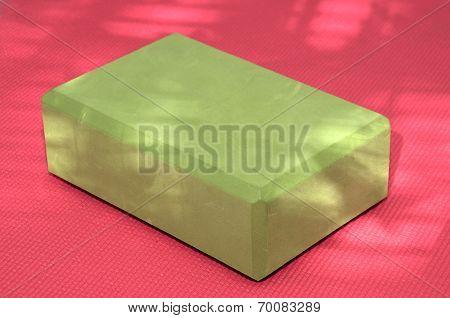 Green Yoga Block Pink Mat