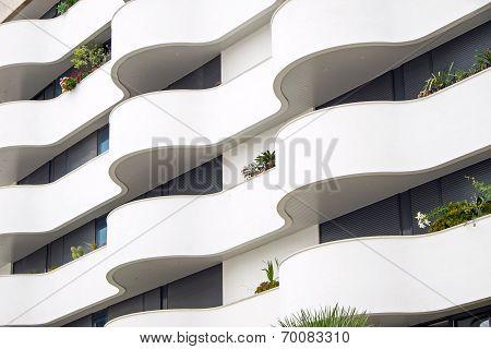 Building facade with balconies