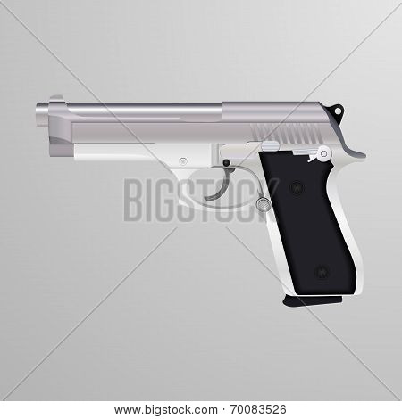 Realistic illustration of a silver handgun