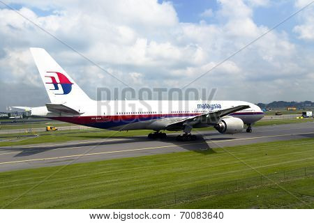 Passenger airplane of the Malaysian airline