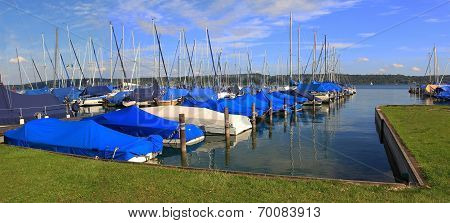 Covered Sailing Boats In The Harbor, Starnberger See, Germany