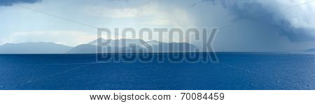 Sea Summer View With Stormy Sky And Rain (greece)