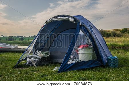 Blue camping tent