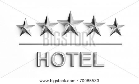 Five silver stars and word Hotel isolated on white