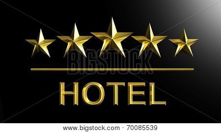 Five golden stars and word Hotel isolated on black