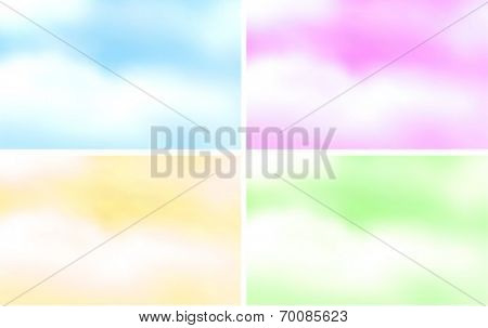 Illustration of four fluffy clouds background