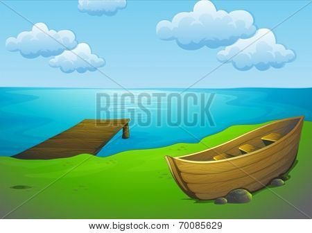 Ilustration of a boat parking by the lake