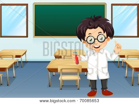 Ilustration of a scientist in a classroom