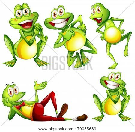 Illustration of different actions of a frog
