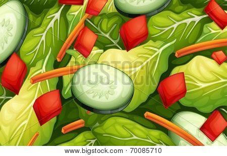 Ilustration of a closeup salad