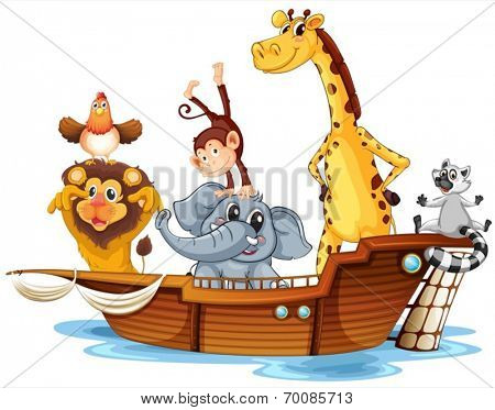 Ilustration of arc aminals on a boat