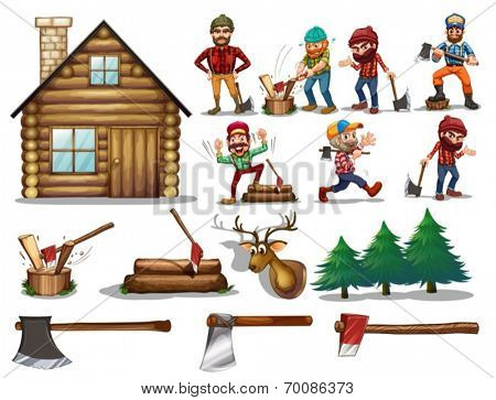 Ilustration of a set of lumberjack with actions