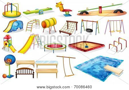 Ilustration of a set of equipment in a playground