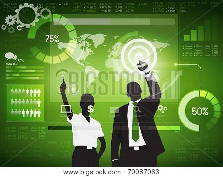 Silhouette Business People with Financial Concept