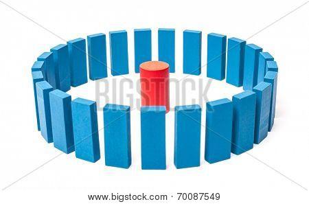 Circle of blue blocks around single red one