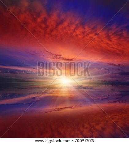 nice sunset scene over lake surface