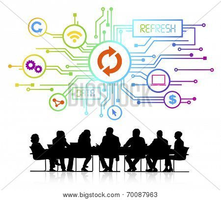 Vector of Business People Discussing Data Reloading