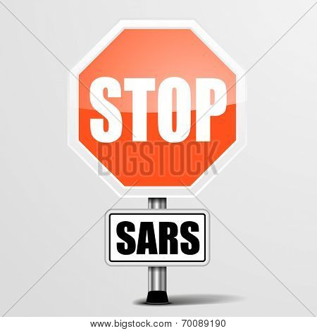 detailed illustration of a red stop sars sign, eps10 vector