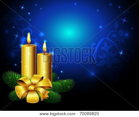Blue Christmas Background With Golden Candle
